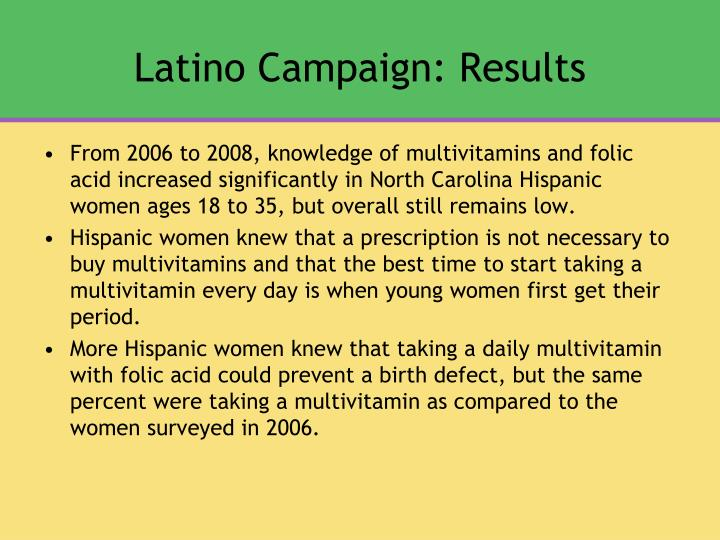 Latino Campaign: Results