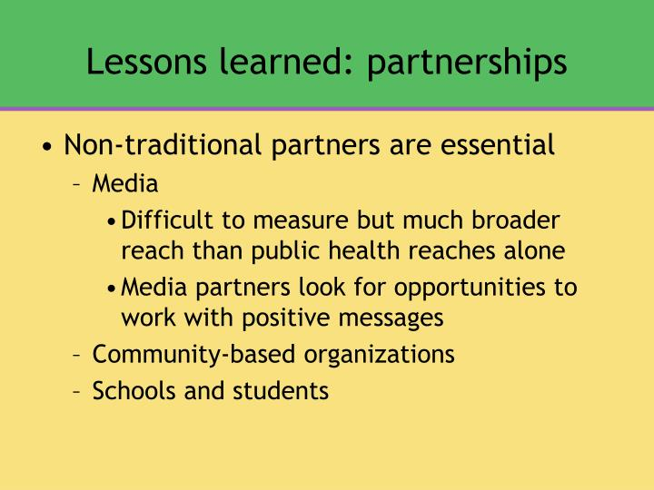 Lessons learned: partnerships