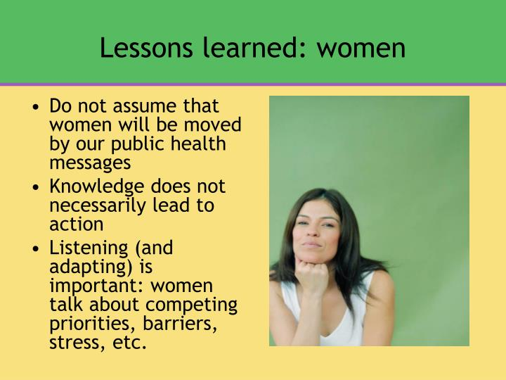 Lessons learned: women