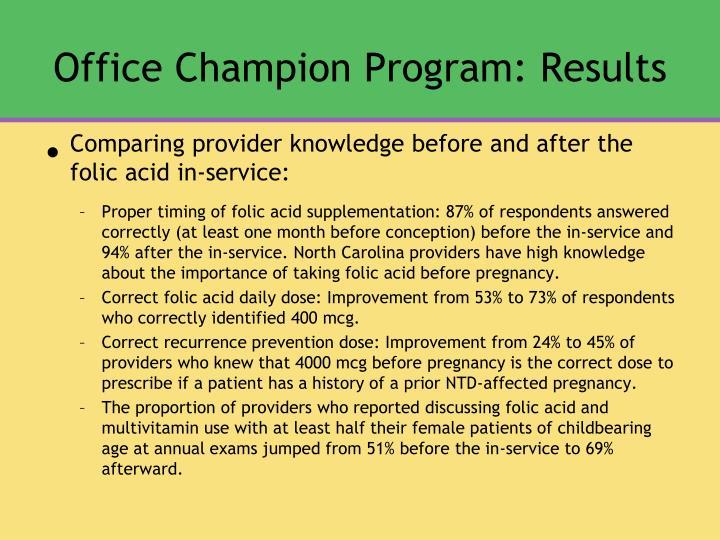 Office Champion Program: Results