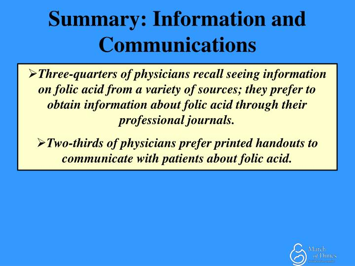 Summary: Information and Communications