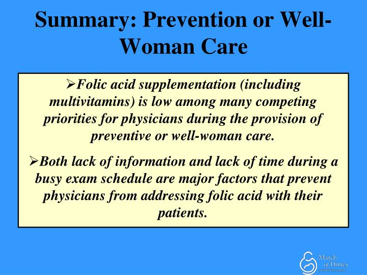 Summary: Prevention or Well-Woman Care
