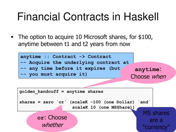 Financial Contracts in Haskell