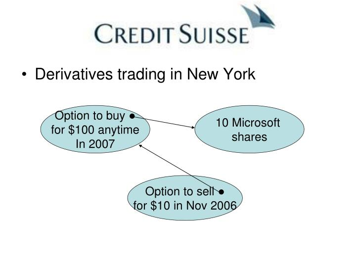 Derivatives trading in New York