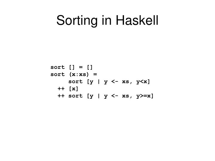 Sorting in haskell