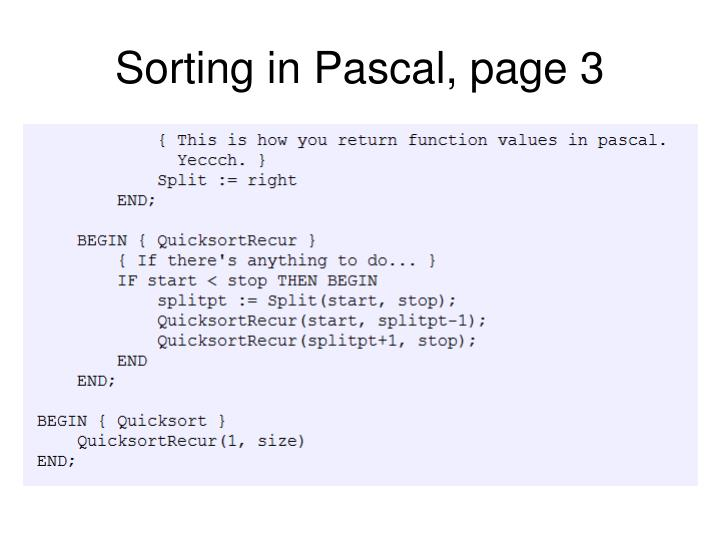 Sorting in Pascal, page 3