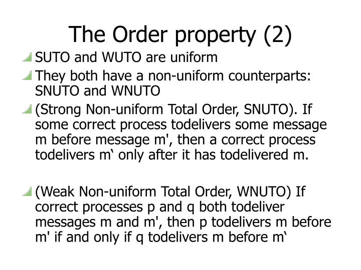 The Order property (2)