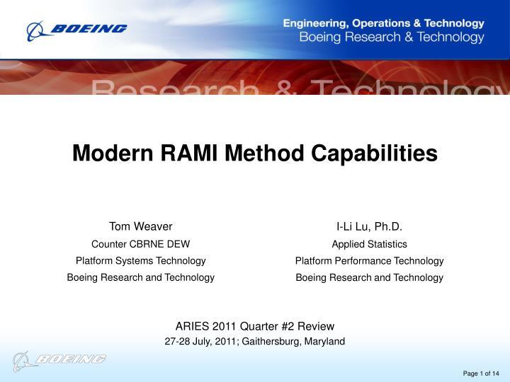 Modern RAMI Method Capabilities