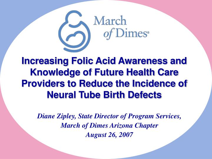 Increasing Folic Acid Awareness and Knowledge of Future Health Care Providers to Reduce the Incidenc...