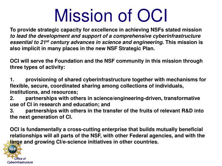Mission of oci
