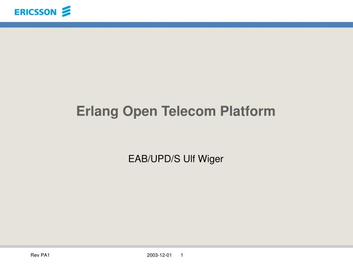 erlang open telecom platform n.