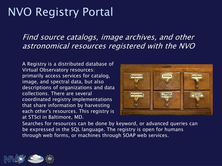 NVO Registry Portal