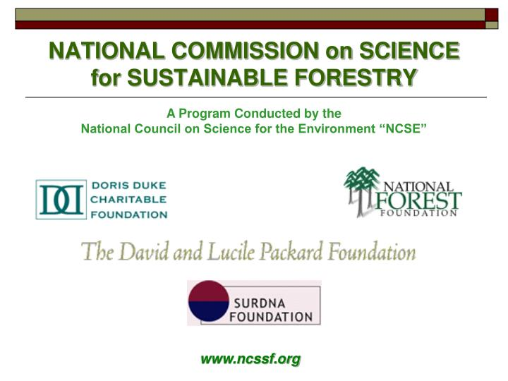National commission on science for sustainable forestry