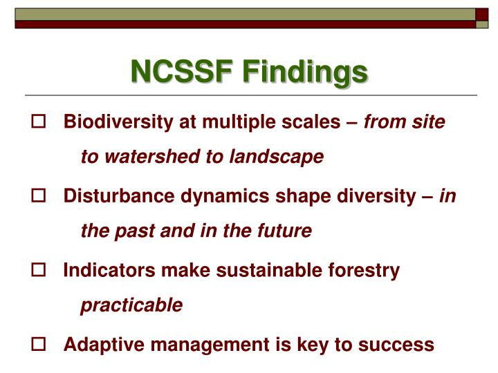 NCSSF Findings