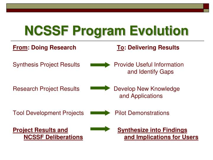 NCSSF Program Evolution