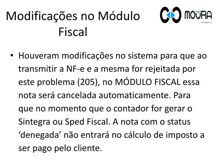 Modificações no Módulo Fiscal