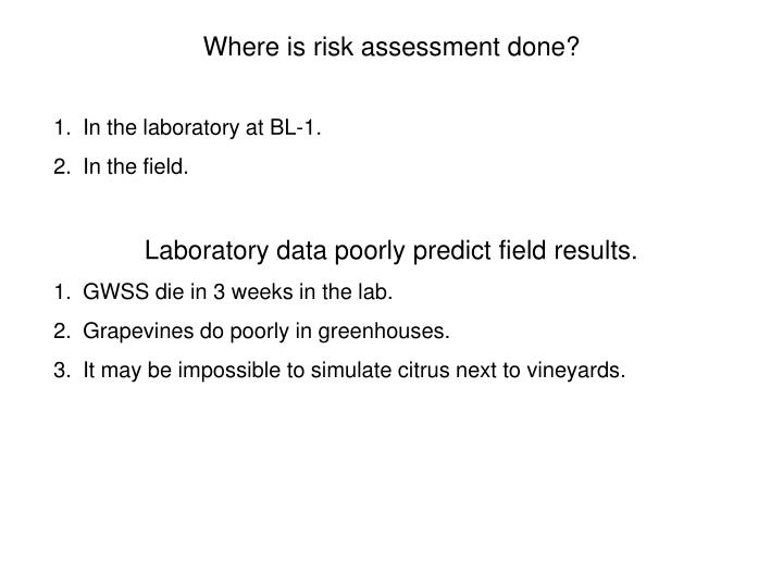 Where is risk assessment done?