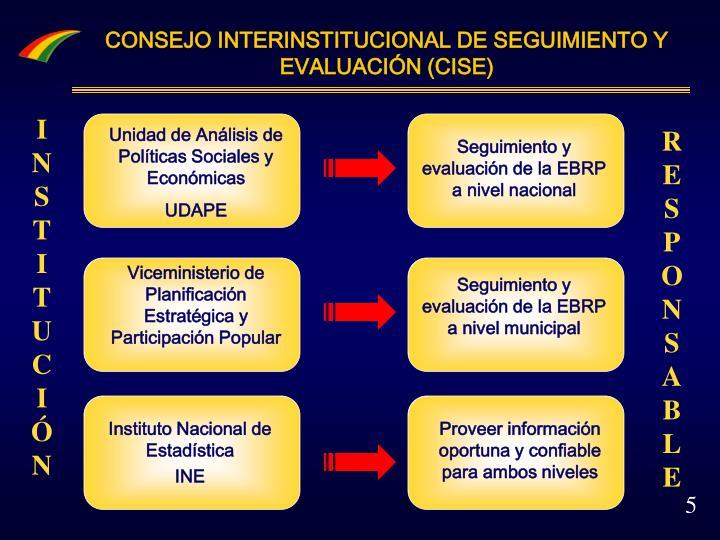 CONSEJO INTERINSTITUCIONAL DE SEGUIMIENTO Y EVALUACIÓN (CISE)