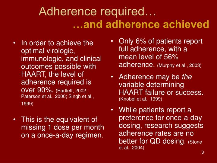 Adherence required