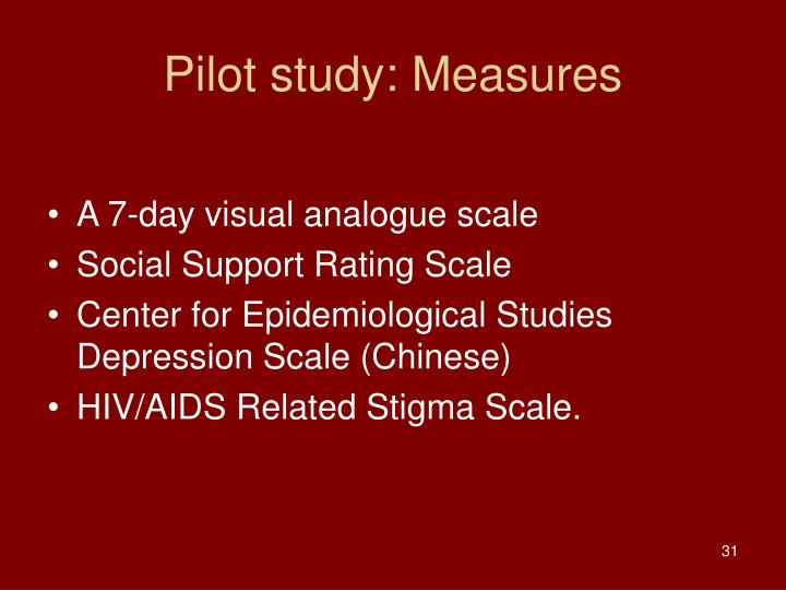 Pilot study: Measures