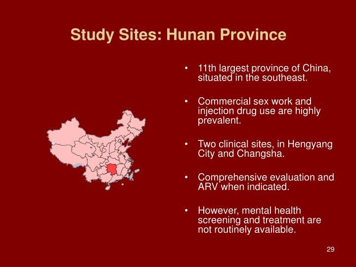 Study Sites: Hunan Province