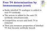 free t4 determination by immunoassays cont