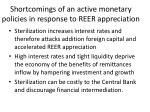 shortcomings of an active monetary policies in response to reer appreciation