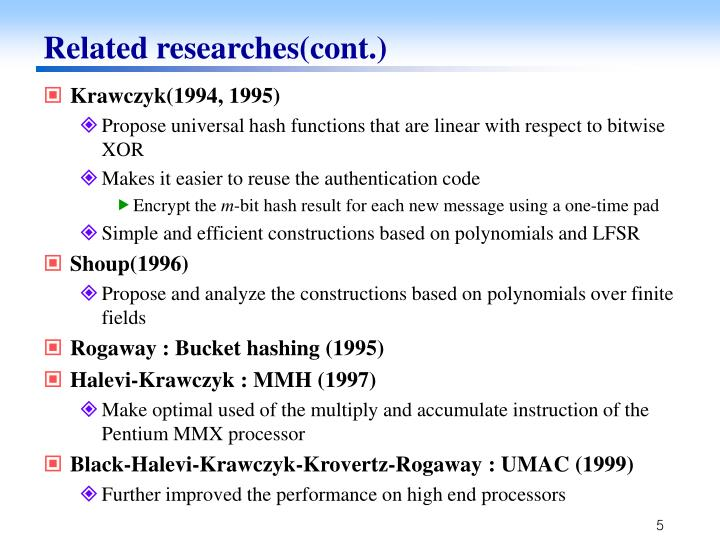 Related researches(cont.)