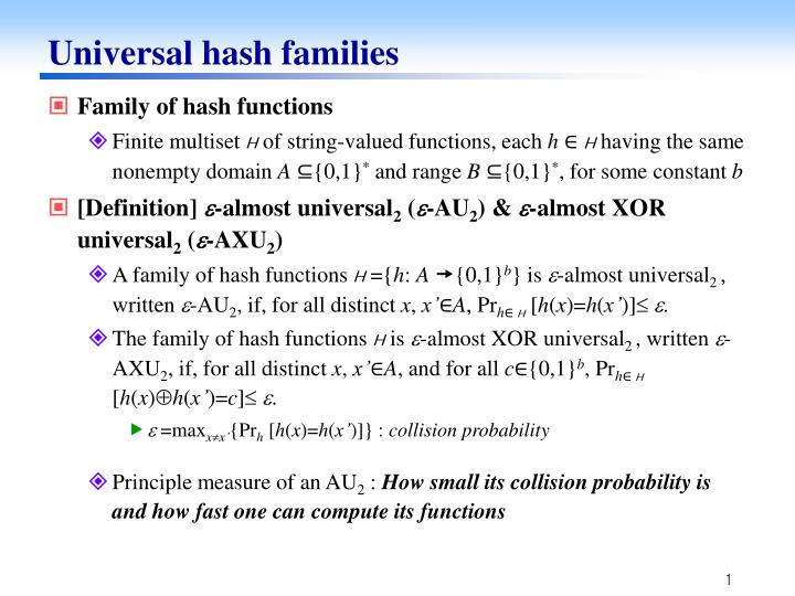 Universal hash families1