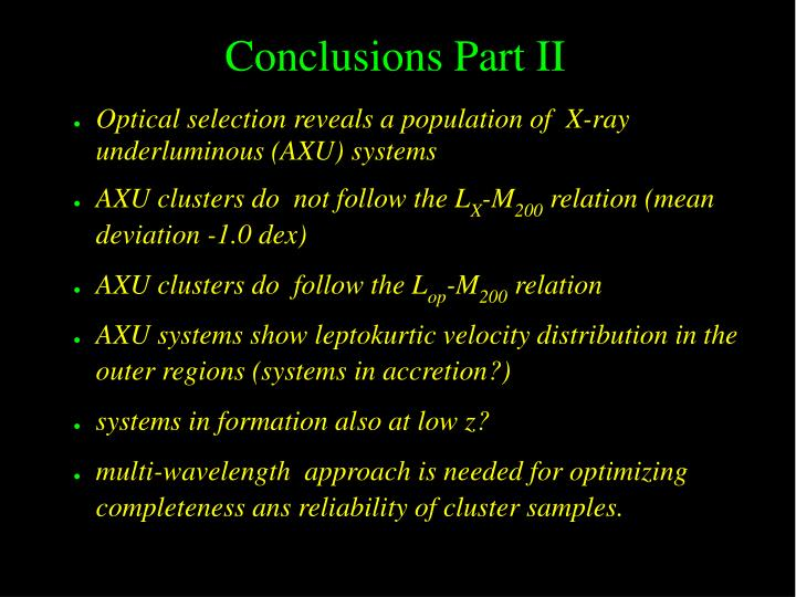 Conclusions Part II