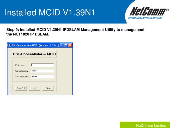 Installed MCID V1.39N1
