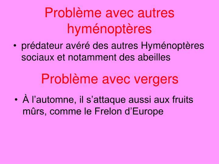 Problème avec autres hyménoptères