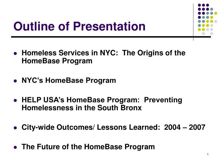 outline of presentation n.