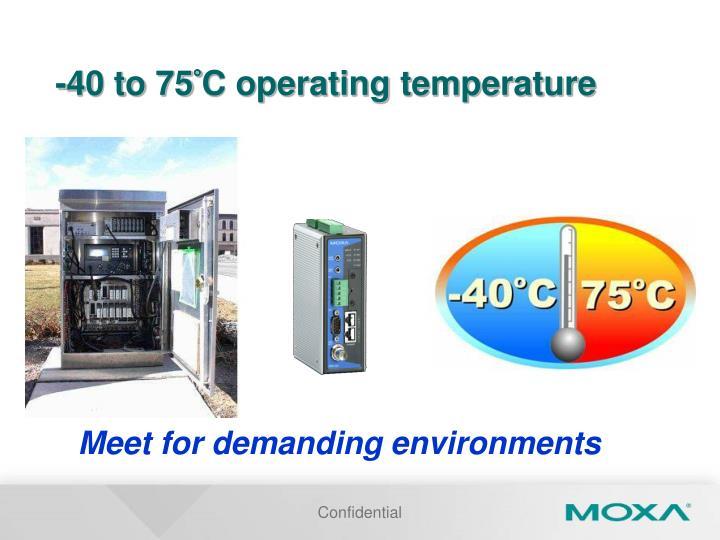 -40 to 75°C operating temperature