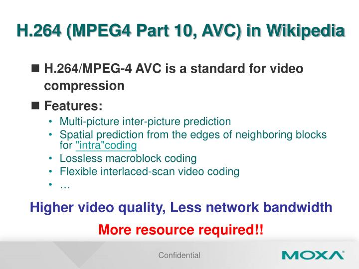 H.264 (MPEG4 Part 10, AVC) in Wikipedia