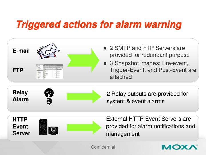 Triggered actions for alarm warning