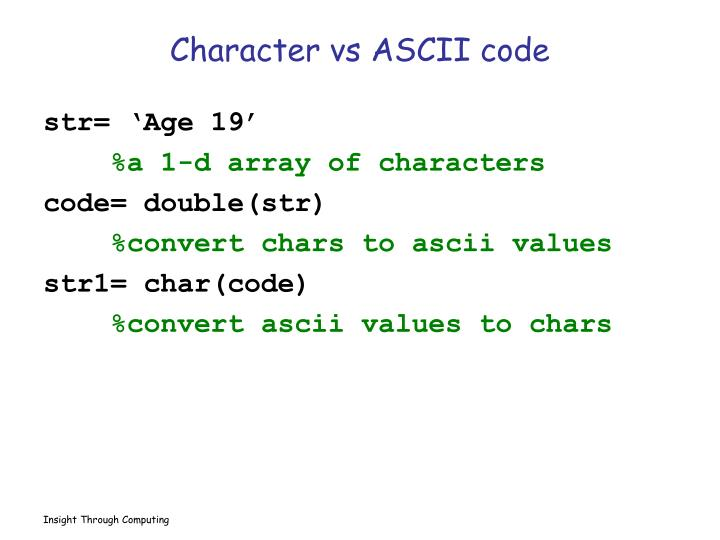 Character vs ASCII code