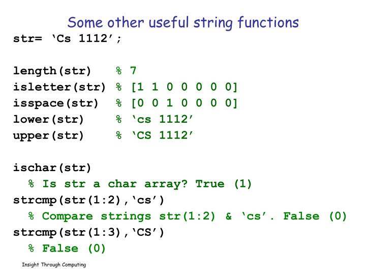 Some other useful string functions