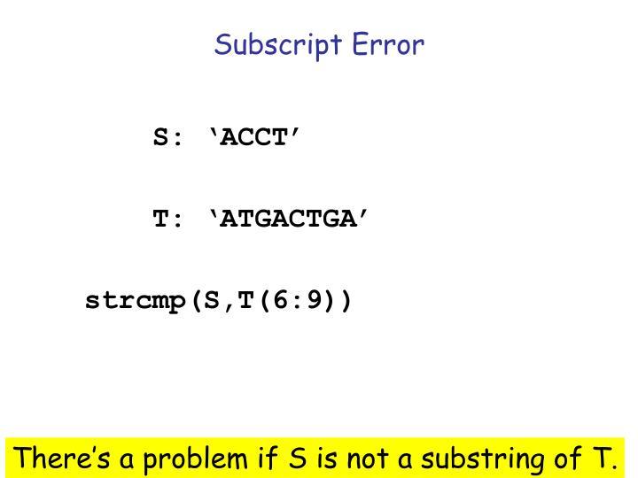 Subscript Error