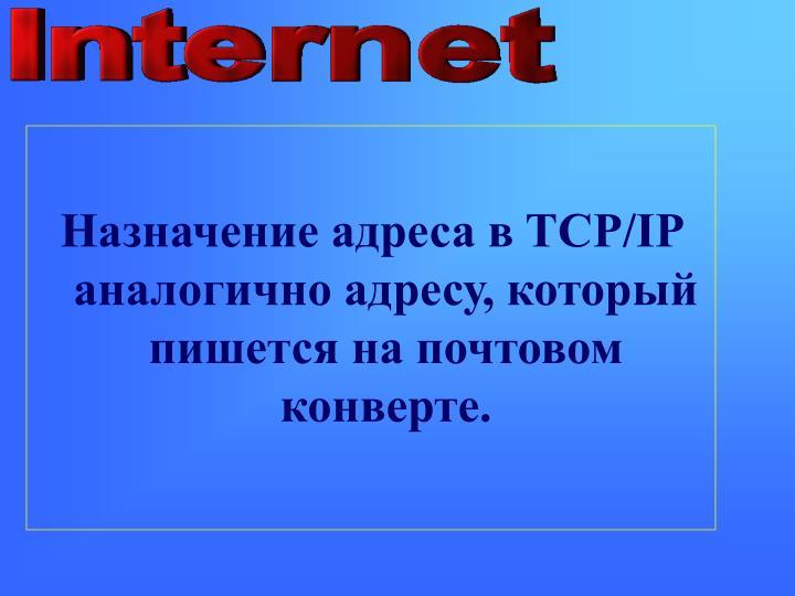 Назначение адреса в TCP/IP аналогично адресу, который пиш...
