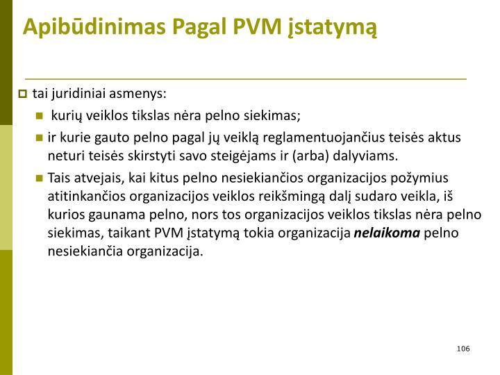 Apibūdinimas Pagal PVM įstatymą