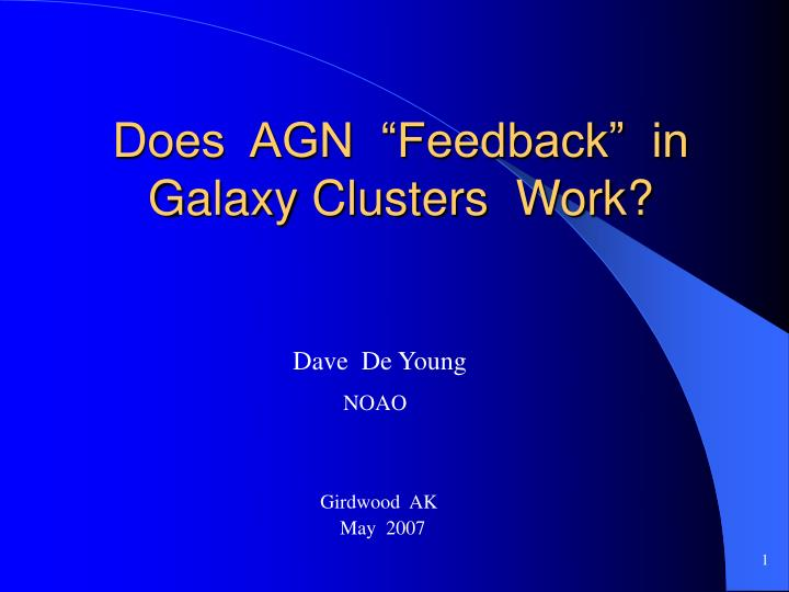 Does agn feedback in galaxy clusters work
