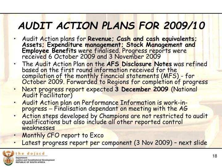 Audit Action plans for