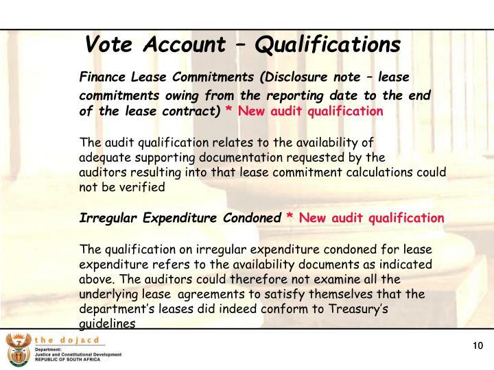 Vote Account – Qualifications