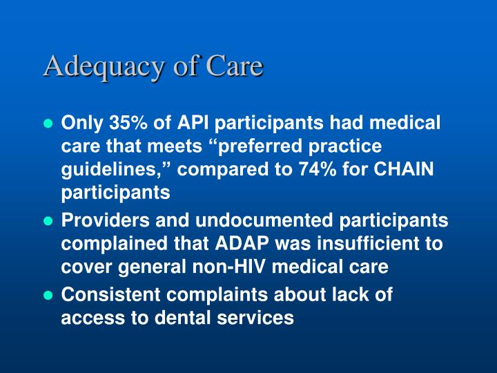 Adequacy of Care