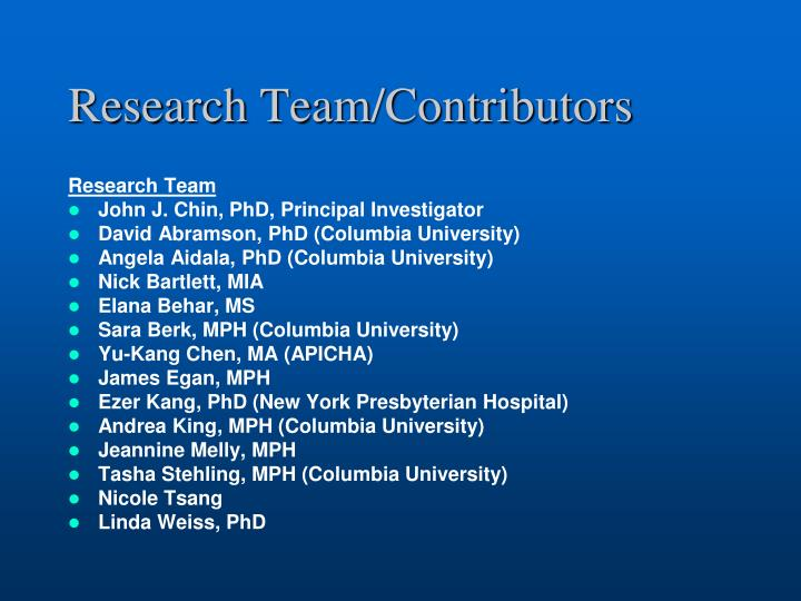 Research team contributors