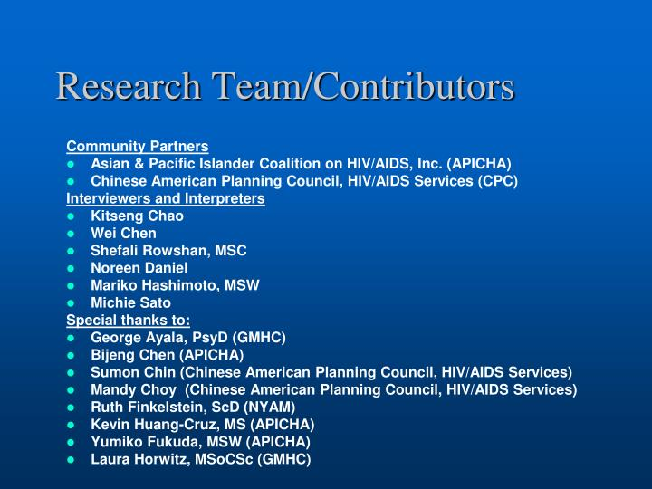 Research Team/Contributors