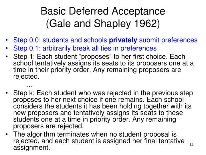 Basic Deferred Acceptance