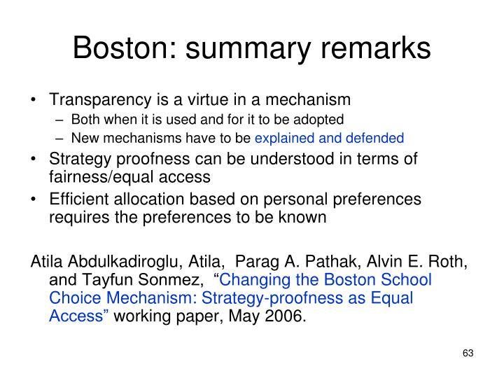 Boston: summary remarks