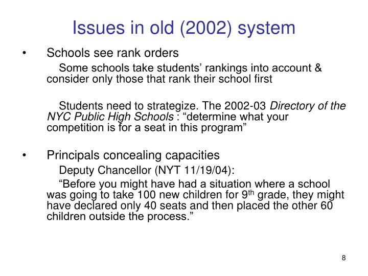 Issues in old (2002) system